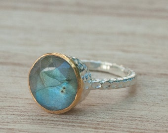 Rainbow Labradorite Ring * Sterling Silver 925 * Boho * Organic * Gold Vermeil * Mix metals* Gypsy * Bridesmaid* Solitaire * Bridal * BJR050