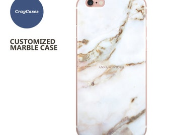 personalized marble phone case, iPhone 6s Plus, 6, 6 Plus, iPhone 7 personalised gift case, custom name phone case UK (Shipped From UK)