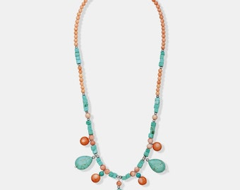 """Pink Coral with Turquoise Tear Drops Necklace - 18"""""""