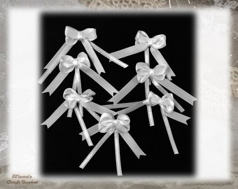 """White Ribbon Bows, 1"""" Wide, Tiny, Wedding, Handmade, Heat-sealed, Polyester, 4 Loops"""