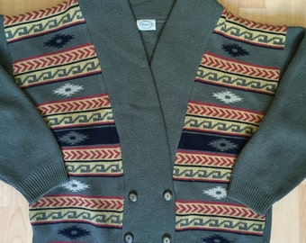 Cardigan In Khaki Ethnic Motif