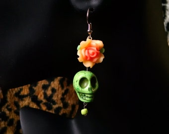 Green Skulls n Rose Earrings