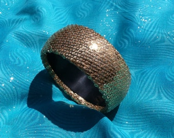 Vintage 80's Gold Sequin Bracelet Bangle on Gold Fabric Shiny & Eye Catching in Beautiful Condition Sent with Real Care
