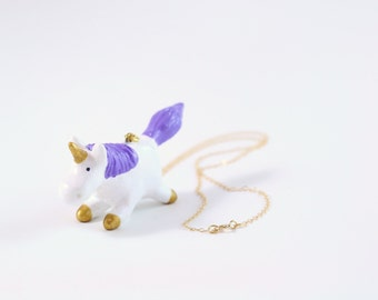 Whimsical Unicorn Necklace with Gold Horn and Hooves and A Purple Mane and Tail Great For Mothers Day or Girlfriend Gift Under 50