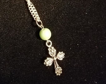 Bead and cross necklace