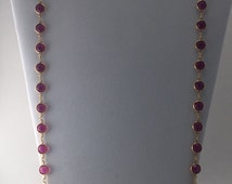 36' Swarovski necklace with Indian Pink crystals.