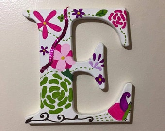 Custom, hand painted wooden letters