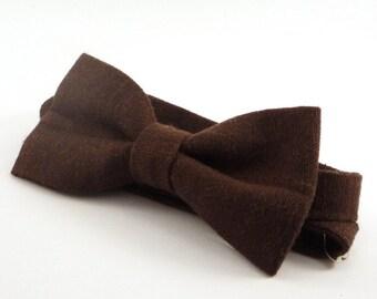 Brown Linen bow tie for wedding, for groomsmen, boy's, toddler's, baby's, men's black brown linen bow tie