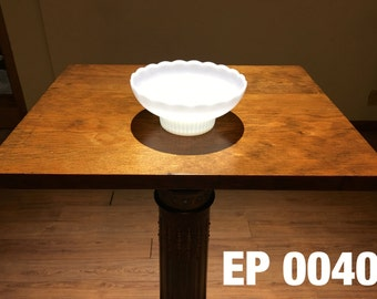 Vintage Milk Glass Scalloped Bowl by E O Brody - EP0040