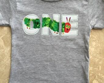 Very Hungry Caterpillar inspired birthday t shirt, First birthday, ONE, Eric Carle inspired birthday tee, custom birthday shirt, any number