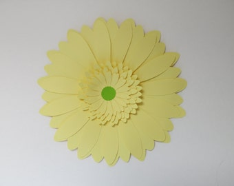 """Pastel Yellow Paper flower Gerbera Daisy Home Decor 8"""" Wall Hanging Gender Neutral Baby shower Decorations Wedding flower photo backdrop"""