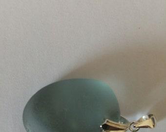 Rare Grey/Blue English Sea Glass pendant with bail