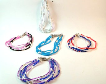 5 Strand Seedbead Bracelet With Magnetic Closure