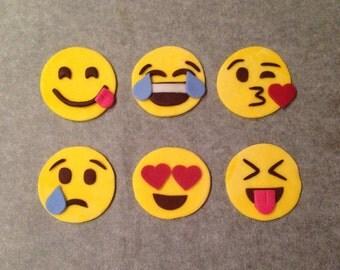 6 Emoji Fondant Cupcake Toppers