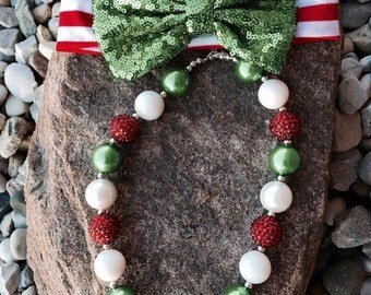Christmas necklace, red white and silver chunky necklace, holiday necklace, bubblegum necklace, school spirit, red & white
