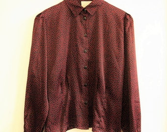 Vintage shirt navy pink spotty 1980s Size Small 10