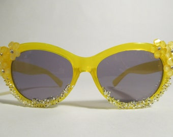 Embellished Sunglasses (Yellow Cat eyes with flowers and beads)