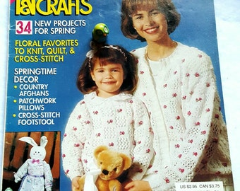 April 1991 McCall's Needlework and Crafts Magazine Floral Patterns Sweaters Spring Decor and More!