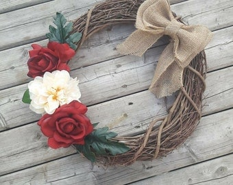Rustic, Shabby Chic, Rose, Grapevine Wreath