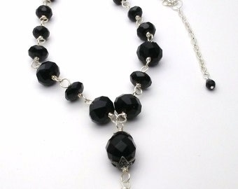 Black Onyx Silver Plated Necklace