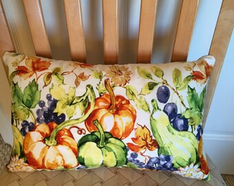 Pillow featuring Fall pumpkins, fruit and leaves