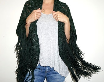 Embroided Scarf/Poncho/Shawl- Green