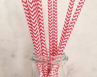 SALE Red Chevron Paper Straws (25)
