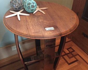 Side Table Made From Wine Barrel Top And Staves   Occasional Table Part 68