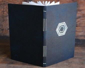 """Silver Hexagon marbled journal • exposed binding long stitch • embossed silver design • 5""""x8"""" sketchbook"""