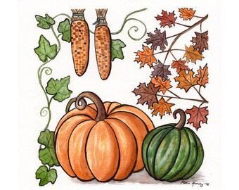 Autumn harvest pumpkin painting, Original watercolor painting, Fall harvest, Cornucopia, Whimsical art, Nature illustration