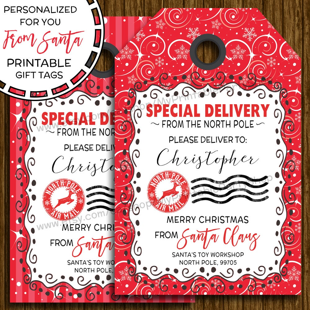 This is a picture of Gratifying Santa Gift Tags Printable