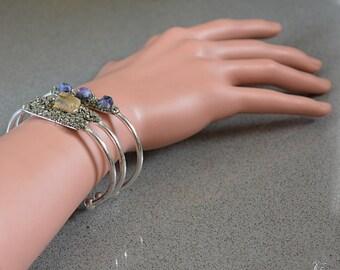 Raw Citrine Bracelet - Raw Sapphire Bracelet - 3 Bracelet Set - Maid of Honor Gifts - Stacking Bangles - Bridesmaid Gifts - Rustic Wedding