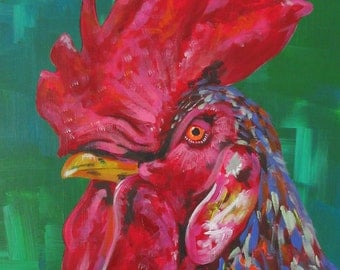 Original Acrylic Rooster Painting - PRINT
