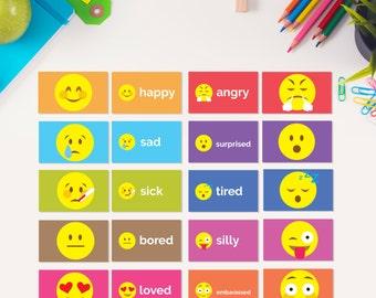 Emotion Flash Cards - PRINTABLE - Emoji Student Flash Cards - Elementary School Classroom Teacher Parent Resources