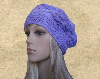 Knit womens beret, Lilac ladies beret, Knitted lace beanie, Thin beret hat cap, Slouchy beanie cap, Slouch beret lady, Trendy womens hat