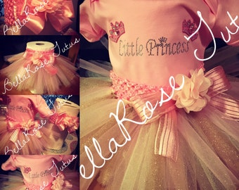 Little Princess Tutu & onesie - pink, ivory, and gold!