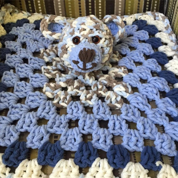 Plush Baby Lovey in Teddy Boy Blue // Baby Blanket // New Baby // Stuffed Toy