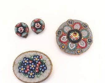 Vintage Italian Mosaic Brooch(2) and Clip on Earrings Mixed set