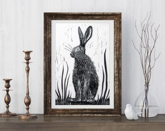 Hare Wall Art, linocut wall art, spring hare, rabbit animal wall art, hare wall print, hare animal print, rabbit wall art, gift for mum