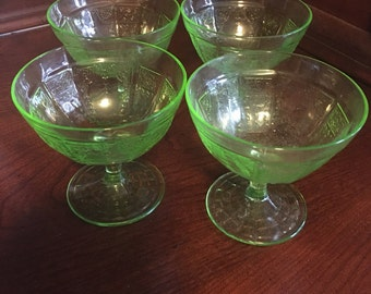 Set of 4 Anchor Hocking Princess-Green Sherbert Glasses