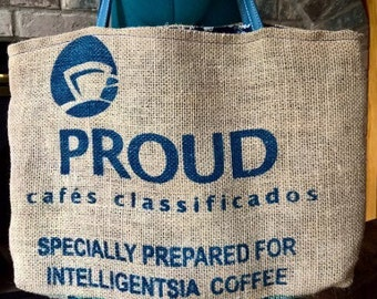 Upcycled Proud Coffee Bag Tote - Proud Bag with Blue/White Lining
