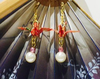 Swaying of Yuzen washi origami crane earrings