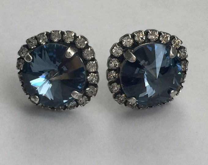 Something Blue Genuine Swarovski® Crystal Denim Blue Stud Earrings With A Halo of Crystals. Stunning Fashion Jewelry!