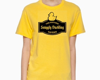 The Historic Snuggly Duckling Tavern Logo Sign from Disney's Tangled Short Sleeve 100% Cotton Tee Shirt