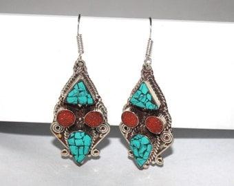 Turquoise earrings, Coral earrings, Silver earrings, Boho earrings, Tribal earrings, Gypsy earrings, Tibetan earring, Navajo earrings BTEB15