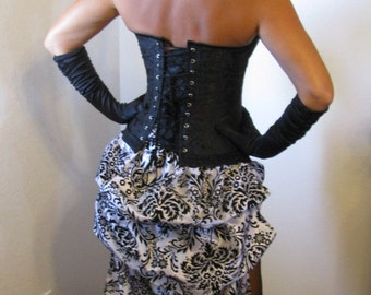Burlesque/steampunk costume-flocked taffeta skirt with bead trim, brocade corset top,includes all accessories