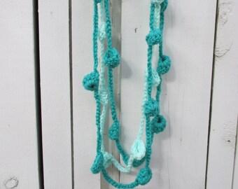 Jade and Iced Aqua Crochet Necklace