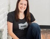 Ohio Mixtape Womens Tshirt, Screenprinted Tshirt, Triblend Charcoal Grey, Ohio Local Music