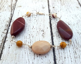 Mookaite Jasper Gemstone Bracelet, Sterling Silver Jewelry, Colorful Unique Jewelry, Gifts for Her, Gemstone Jewelry