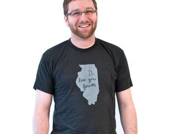 illinois tshirt, chicago tshirt, unisex, neutral, silkscreened tshirt, graphic tshirt, witty tshirt, men's gift ideas, free ship